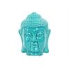 Ceramic Buddha Head with Rounded Ushnisha Gloss Finish Turquoise