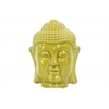 Ceramic Buddha Head with Rounded Ushnisha Gloss Finish Yellow Green