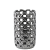 Ceramic Round Cylindrical Vase with Square Cutout Design SM Polished Chrome Finish Silver