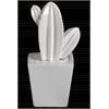 Ceramic Star Cactus Figurine on Pot Gloss Finish White