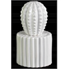 Ceramic Cactus Figurine with Spikes on Round Pot Coated Finish White