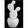 Ceramic Cactus Figurine with Flowers on Pot SM Coated Finish White