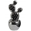Ceramic Cactus Figurine with Flowers on Pot SM Coated Finish Silver
