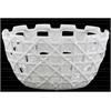 Ceramic Round Pot with Square Cutout Design LG Polished Chrome Finish White