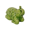 Ceramic Kneeling Trumpeting Elephant Figurine with Embossed Swirl Design Distressed Gloss Finish Yellow Green