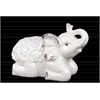 Ceramic Kneeling Trumpeting Elephant Figurine with Embossed Swirl Design Distressed Gloss Finish White
