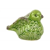 Ceramic Bird Figurine with Embossed Floral Design Distressed Gloss Finish Yellow Green