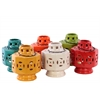 Ceramic Tea Light Lantern with Metal Handle Assortment of Six LG Gloss Finish Assorted Color (Yellow Green, Red, Orange, Amber, White and Teal)