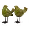 Ceramic Bird Figurine with Long Metal Legs Assortment of Two Gloss Finish Yellow Green