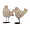 Ceramic Bird Figurine with Long Metal Legs Assortment of Two Gloss Finish Ivory