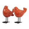 Ceramic Bird Figurine with Long Metal Legs Assortment of Two Gloss Finish Orange