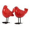 Ceramic Bird Figurine with Long Metal Legs Assortment of Two Gloss Finish Red