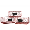 Metal Rectangular Wire Basket with Mesh Sides and Name Tags Assortment of Three Coated Finish Red