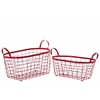 Metal Rectangular Wire Basket with Handles and Mesh Body Set of Two Coated Finish Red