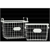 Metal Rectangular Wire Basket with Mesh Sides, Handles and Card Holders Set of Two Coated Finish White