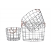 Metal Round Nesting Wire Basket with Two Handles Set of Three Coated Finish Silver