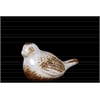 Ceramic Bird Figurine Antique Distressed Gloss Finish White