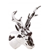 Ceramic Deer Head Wall Decor Polished Chrome Finish Silver