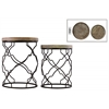 Metal Round Nesting Accent Table with Recessed Wood Top and Round Base Set of Two Coated Finish Black