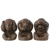 Polyresin Sitting Monkey No Evil (Hear/Speak/See) Figurine Assortment of Three Natural Finish Brown