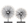 Metal Sea Urchin Ornament with Gold Ends and Rectangle Stand Set of Two Metallic Finish Black