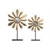 Metal Floral Ornament with Mirror Center and Rectangle Stand Set of Two Metallic Finish Gold