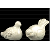 Stoneware Bird Figurine Distressed Gloss FInish Cream