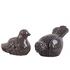 Ceramic Bird Figurine Assortment of Two Gloss Finish Dark Taupe
