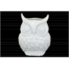 Ceramic Owl Figurine/Vase LG Gloss Finish White