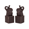 Resin Trumpeting Elephant on Cube Platform Bookend Set of Two Matte Finish Espresso Brown