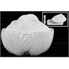 Ceramic 42 oz. Clam Seashell Canister with Lobster Lid Gloss Finish White