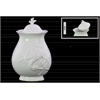 Ceramic 76 oz. Canister with Lid and Seahorse and Starfish Relief LG Gloss Finish White