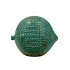 Ceramic Round Fish Figurine LG Distressed Gloss Finish Teal