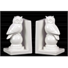 Ceramic Owl on Ball Pedestal Bookend Assortment of Two Gloss Finish White