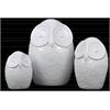 Ceramic Owl Figurine Set of Three Gloss Finish White