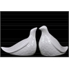 Ceramic Bird Abstract Figurine Set of Two Gloss Finish White