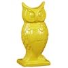 Ceramic Owl Figurine/Vase on Base Gloss Finish Yellow