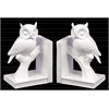 Ceramic Owl on Tree Branch Bookend Assortment of Two Gloss Finish White