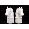 Ceramic Horse Head on Cylindrical Base Bookend Assortment of Two Gloss Finish White