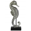 Resin Seahorse Figurine on Stand Glittery Matte Finish Silver