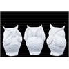Ceramic Owl No Evil (See/Hear/Speak) Figurine Assortment of Three Gloss Finish White