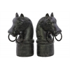 Resin Horse on Cylindrical Stand and Ring Bits Bookend  Assortment of Two Matte Finish Espresso Brown