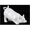 Ceramic Bowing Pig Figurine Gloss Finish White