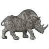 Polyresin Standing Rhinoceros Figurine LG Metallic Finish Silver