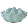 Ceramic Clam Seashell Figurine with Opening in Side Gloss Finish Blue