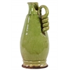 Ceramic Round Bellied Tuscan Vase with Coiled Handle Craquelure Distressed Gloss Finish Yellow Green