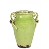 Ceramic Round Bellied Tuscan Vase with 2 Looped Handles Craquelure Distressed Gloss Finish Yellow Green