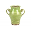 Ceramic Rpind Bellied Tuscan Vase with 2 Curved Handles and Indented Lip Ribbed Distressed Gloss Finish Yellow Green