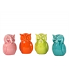 Ceramic Owl Figurine Bank Assortment of Four Gloss Finish Assorted Color (Pink, Orange, Yellow Green and Turquoise)