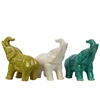 Ceramic Polygonal Standing Trumpeting Elephant Figurine Assortment of Three Gloss Finish Assorted Color (Olive Green, White and Turquoise)